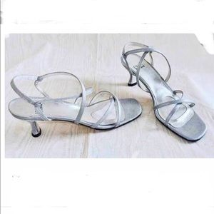 Stuart Weizmann Silver Kitten Heels, Size 8.5